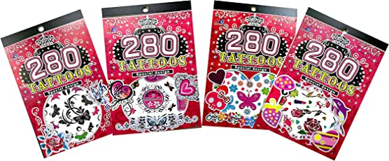 Ascend Store™ Temporary Tattoo Books for Kids. Combo of 4 Booklets Each Containing 6 Leaves of 6.5x4.5 inch. Assorted Designs as per Availability Will be Shipped