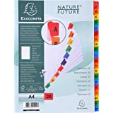 Exacompta - Réf. 1111E - Intercalaires en carte blanche 160g/m2 FSC® avec 20 onglets imprimés alphabétiques de A à Z couleur-
