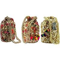 Filora Women's Ethnic Rajasthani Silk Potli Bag (Multicolour) -Combo of 3