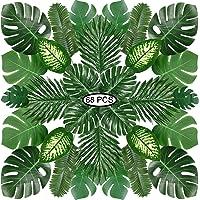 PietyPet Tropical Luau Party Décoration Fournitures, 68 pièces 8 Genres Monstera Tropicales, Feuilles De Palmier…