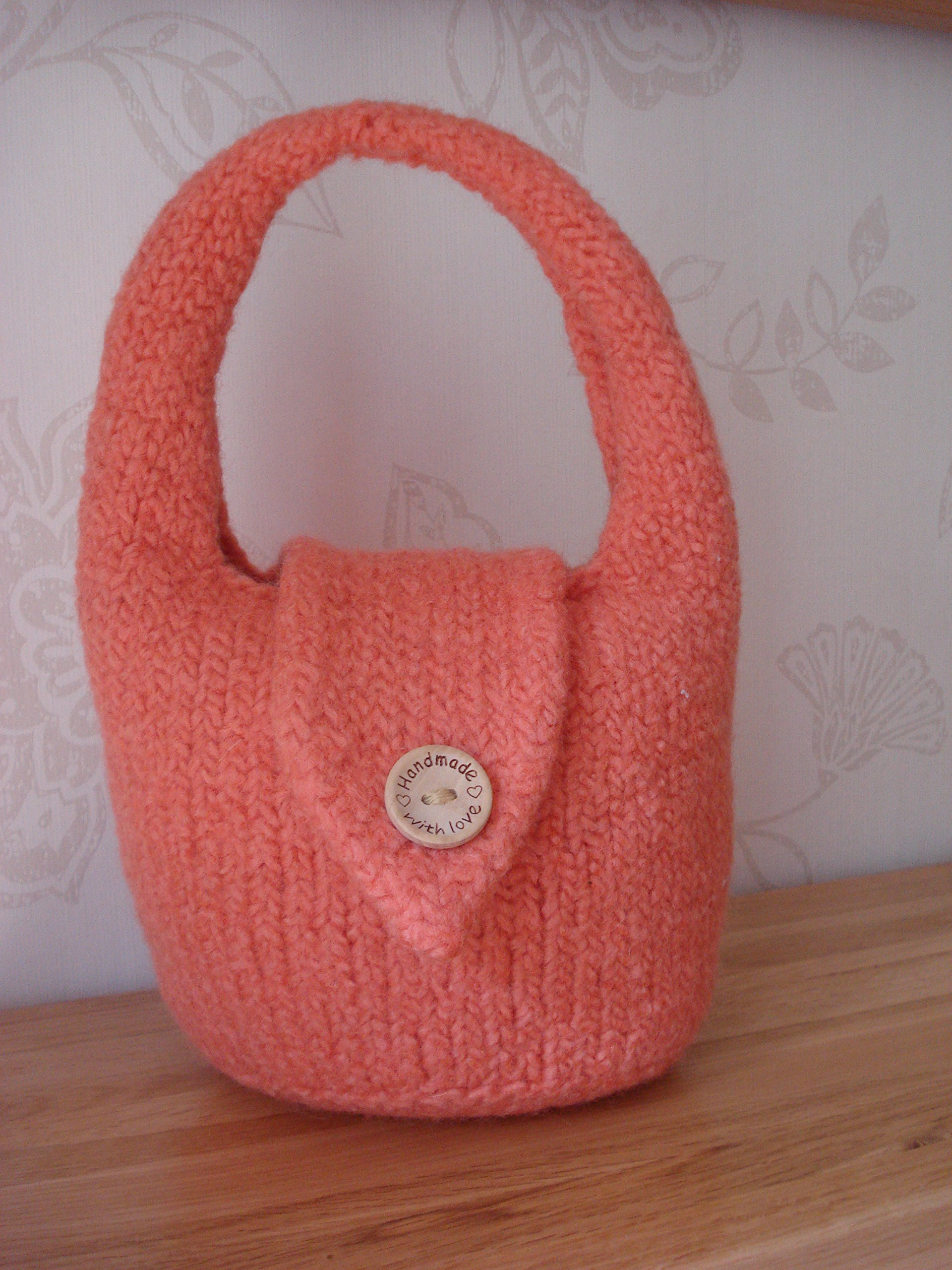 "Small Hand Felted Bag in Orange with Magnetic Fastener and ""Handmade With Love"" Button - handmade-bags"