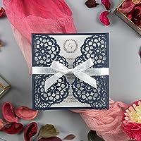 Partecipazioni matrimonio taglio laser fai da te inviti matrimonio carta blu marino con busta - campione prestampato !!
