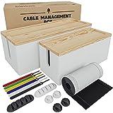 Nature Supplies 2 Cajas para Organizar Cables Hecha en Madera de Pino - 1 Caja Organizadora Mediana para Escritorio, 1 Organi