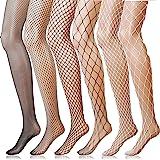 ANDIBEIQI 6 Paia Calze a Rete Fishnet Socks Collant Coprente Elasticizzato Donna Sexy Moda Vita Alta Nylon Collant Calzini, T