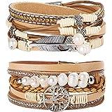 Milacolato 2 Stücke Leder Wrap Manschette Armband Frauen Mädchen Multilayer Baum des Lebens Armband Armband Magnetschnalle Bo