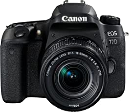 Canon EOS 77D SLR-Digitalkamera (24,2 Megapixel, 7,7 cm (3 Zoll) Display, APS-C CMOS Sensor, Full HD) kit inkl. EF-S 18-55mm 1:4-5,6 IS STM Objektiv schwarz