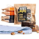 Feel Mighty Keto Friendly Low Carb Assorted Brownies- High Protein,Sugar-Free - 3 Dark Chocolate & 2 Peanut Butter…