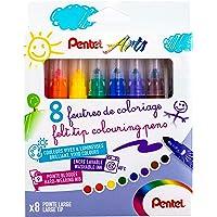 Pentel SCS3E Feutres de Coloriage Enfants à Encre Ultra-Lavable et Pointe Large - couleurs Assorties - x8 Couleurs