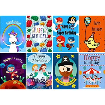 16 assorted childrens birthday cards envelopes by greetingles for 16 assorted childrens birthday cards envelopes by greetingles for boys girls 8 designs m4hsunfo
