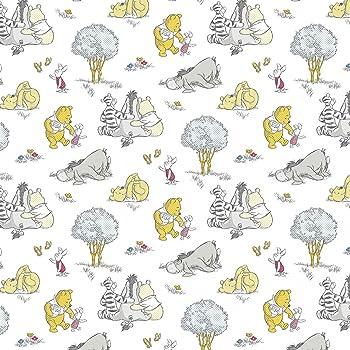 1//2 Metre *Free P /& P* Disney Winnie the Pooh 100/% Cotton Grey Craft Fabric