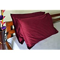 Trance Home Linen 100% Cotton Pillow Covers (20X30-inch Large, Deep Wine) - Pack of 2