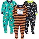 Simple Joys by Carter's 3-Pack Loose Fit Flame Resistant Polyester Jersey Footed Pajamas Niños, Pack de 3