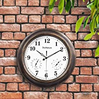 Large Garden Outdoor Clock, 45cm Waterproof Clock with Temperature and Humidity Combo, Silent Battery Operated Quartz Movement Decorative Clock for Outside or Indoor, Pool, Fence, Patio(Metal, Bronze)