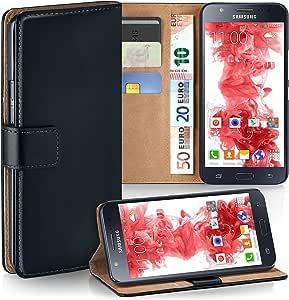 MoEx Premium Book-Case Handytasche kompatibel mit Samsung Galaxy J5 (2015) | Handyhülle mit Kartenfach und Ständer - 360 Grad Schutz Handy Tasche, Schwarz