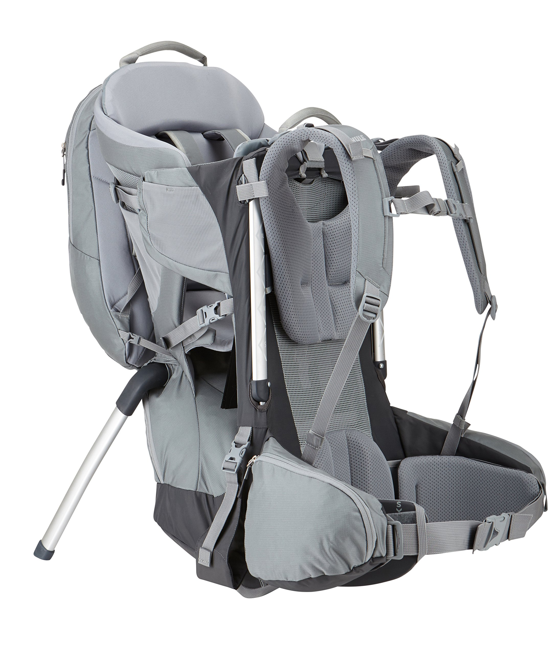 Thule Sapling Elite Child Carrier  Removable backpack and large zippered compartment store diapers, clothes and other gear Fully adjustable back panel and hip belt make the transition between parents quick and easy, Plush, height adjustable, ergonomic seat efficiently distributes the child's weight by providing inner thigh support Breathable back panel allows air to circulate around your back 3