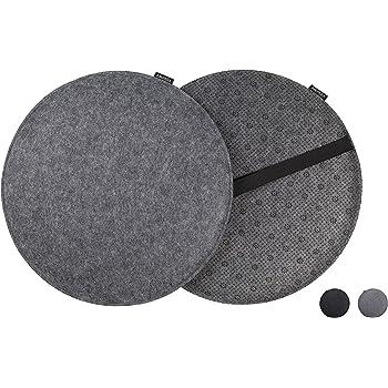 ampara 4er set edle stuhlkissen stuhlauflage rund grau filz rutschfest extra. Black Bedroom Furniture Sets. Home Design Ideas