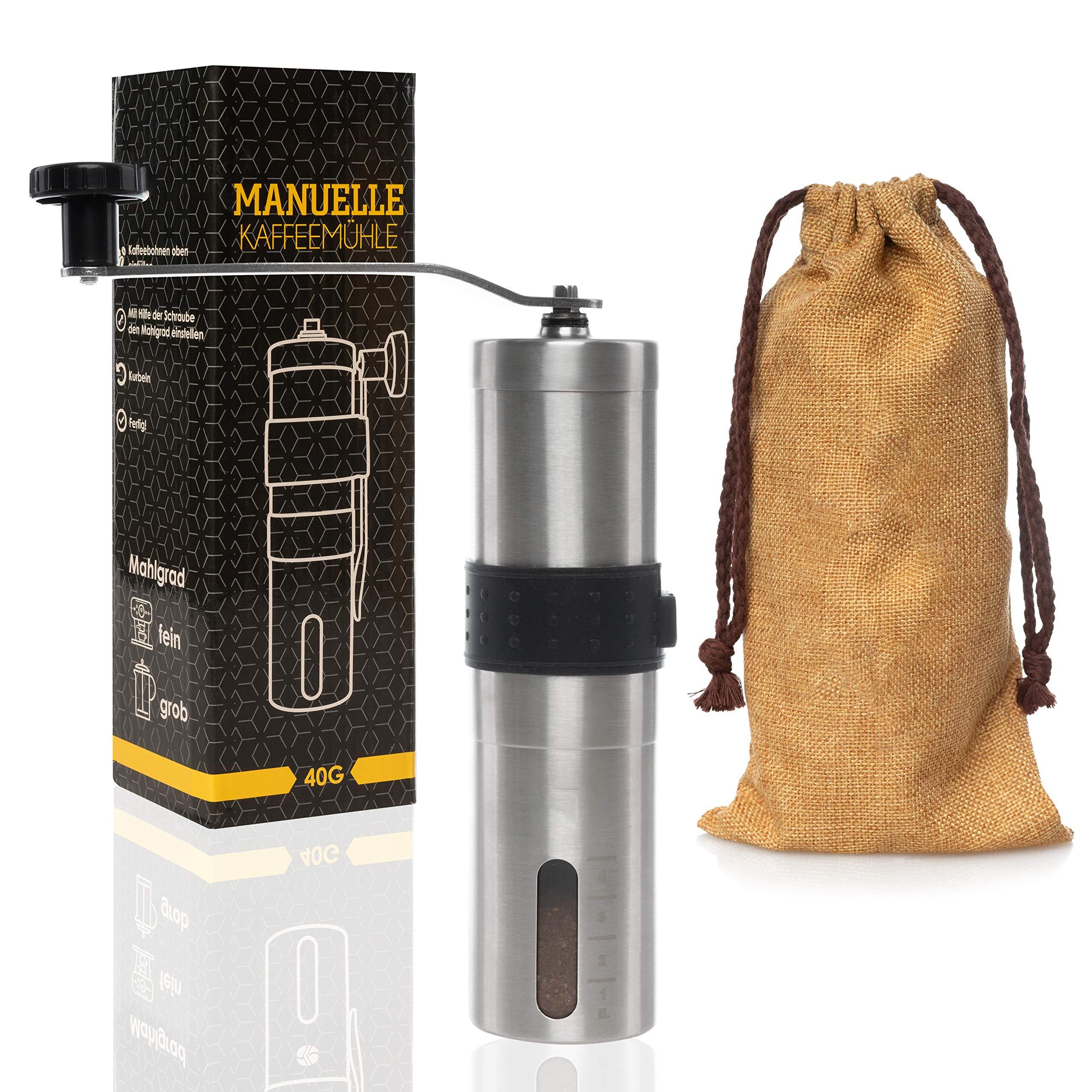 Premium Hand-Kaffeemühle mit Keramik-Mahlwerk – Manuelle Kaffeemühle mit Halterung zum Reisen – Stufenlose Einstellung…
