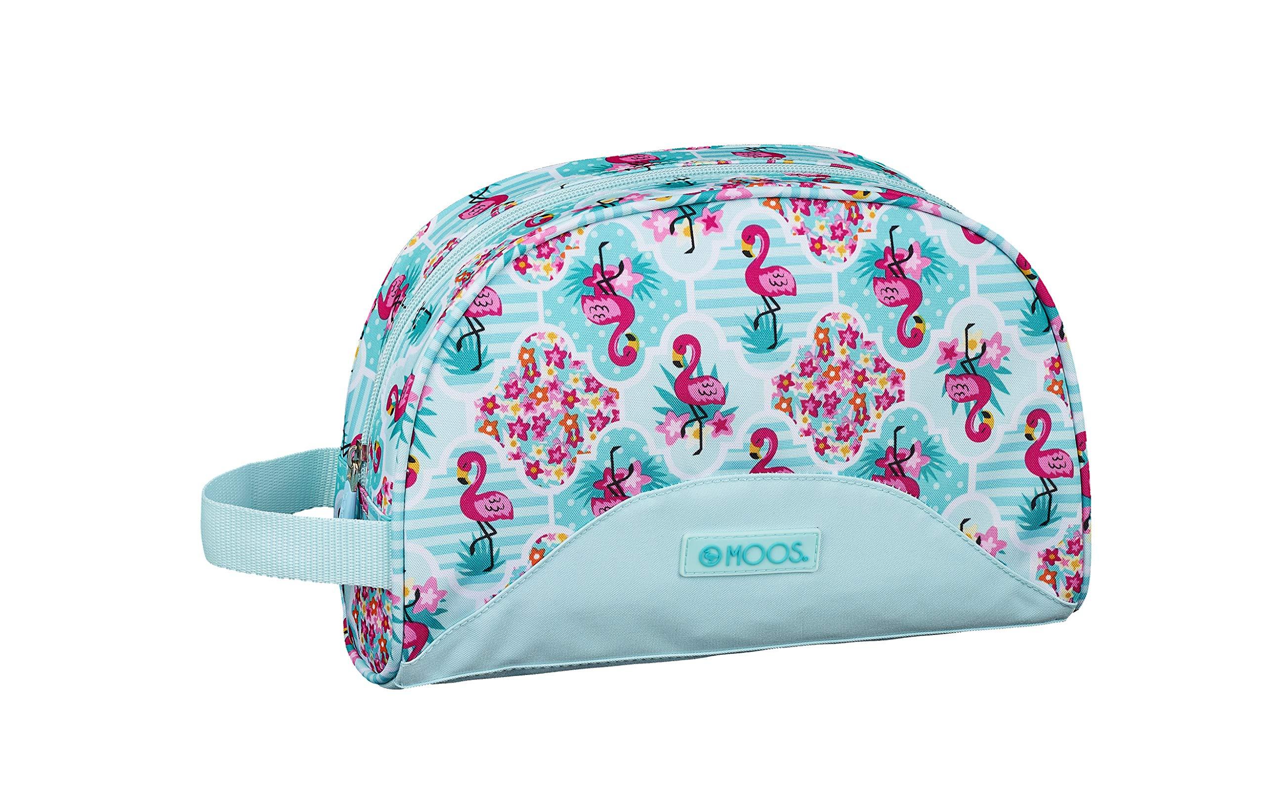 Moos  Flamingo Turquoise Oficial Mochila Escolar Infantil Pequeño Con Asa 280x100x180mm