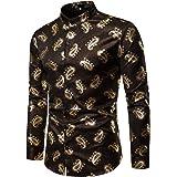 WHATLEES Golden Flower Baroque Design Long Sleeve Button Down Dress Shirts