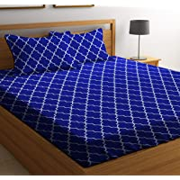 HIYANSHI HOME FURNISHING Cotton Satin Stripes Double King bedsheet with 2 Pillow Covers 90'' x100'' inch (Blue)