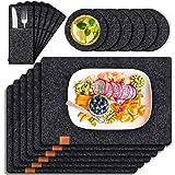 Tendak Zestaw filcowych podkładek na stół, z 6 podkładkami zmywalnymi 44 x 32 cm, 6 podstawek i 6 worków na sztućce, odporne