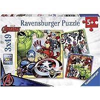 Ravensburger- 3 Puzzles de 49 pièces Les puissants Avengers Marvel The Enfant, 4005556080403, Néant, 0