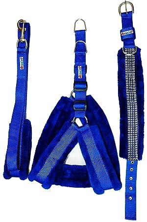 Petshop7 Nylon Blue Fur 1.25 Inch Large Dog Harness, Dog Collar & Leash (Chest Size : 28-34 inch)
