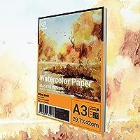 ESENG® Lot de 20 feuilles de papier aquarelle de qualité supérieure - 300 g/m² - A3 - Blanc - Bloc de papier pour…