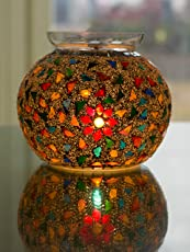 Homesake A024 Persian Mosaic Flower and Seed Beads Desk Lamp (Multicolour)