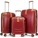 BONTOUR Elegance Valise rigide avec serrure TSA, chariot, valise trolley, valise de voyage à 4 roulettes (Bordeaux, ensemble