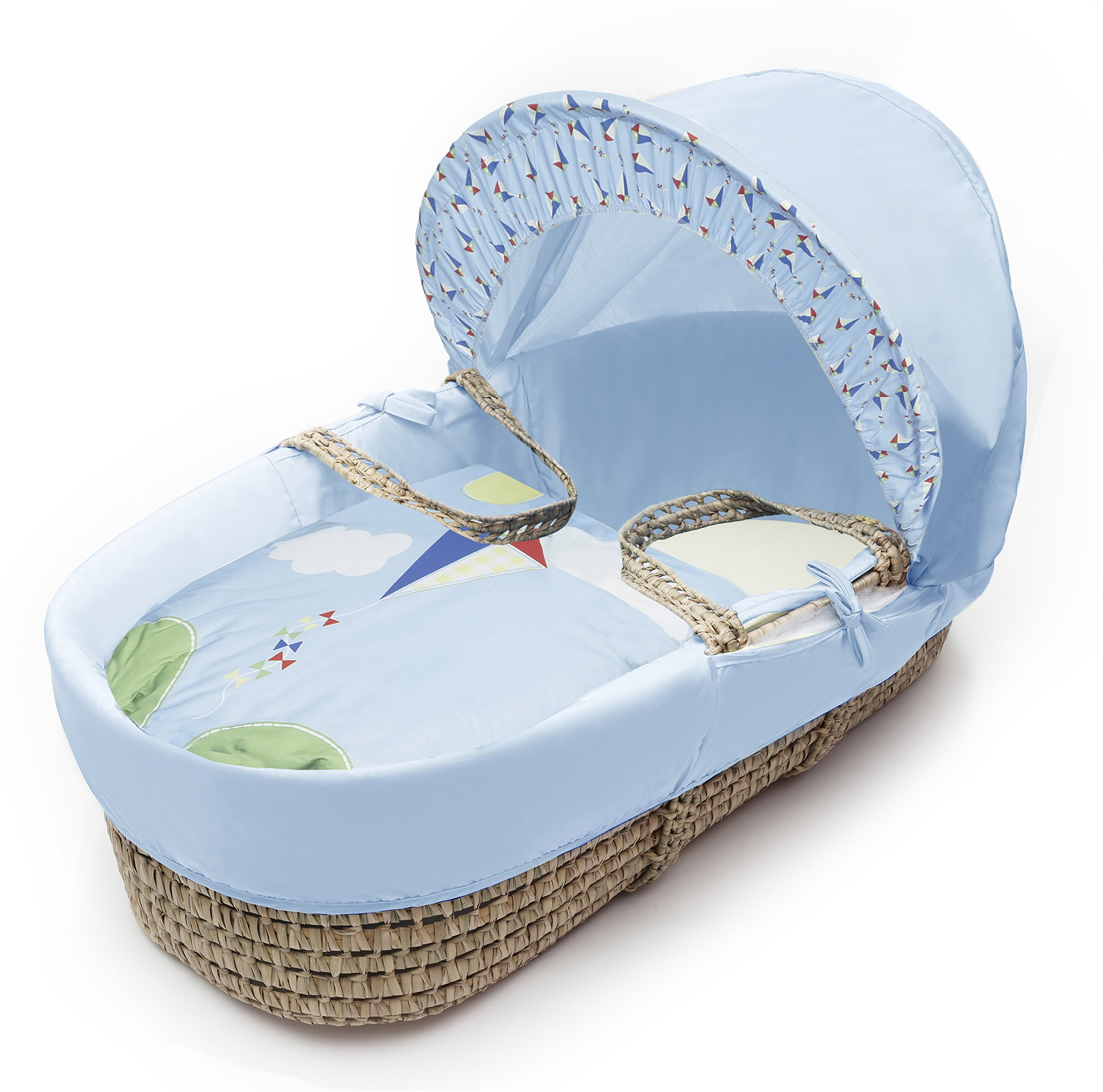 Kinder Valley Kite Blue Moses Basket  Suitable from newborn to 6 months, this Moses Basket uses Easy-care Poly Cotton with a soft padding surround A good balance between comfort and style, moses Basket will ensure safe and sound sleeping for you and your baby The Moses Basket is a perfect starter bed for your baby. The mattress is also washable, just in case of any spillages 1