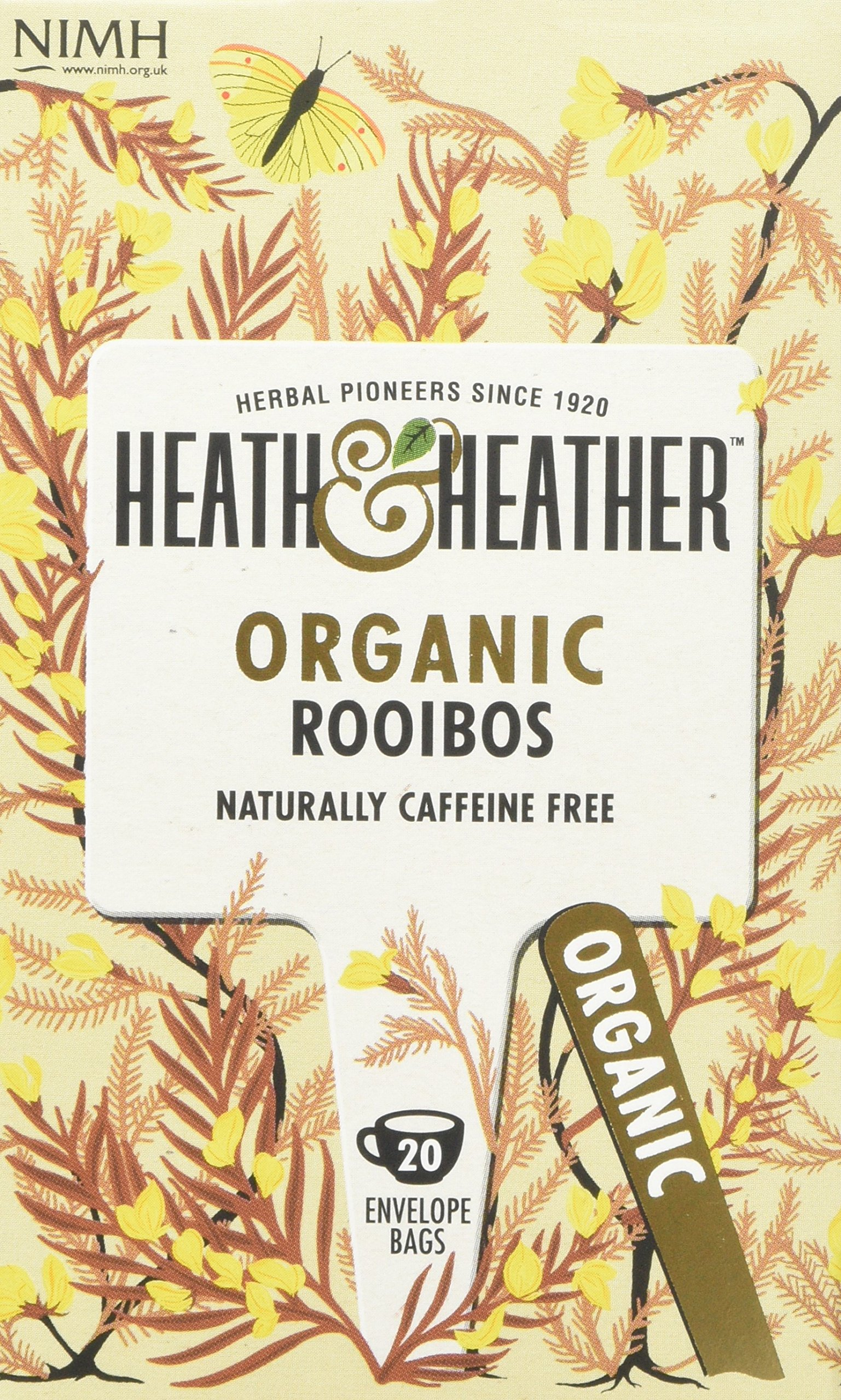 Heath & Heather organic rooibos tea bundle (soil association) (rooibos tea) (6 packs of 20 bags) (120 bags) (brews in 3-5 minutes)