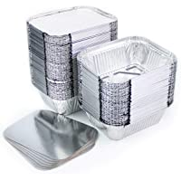 Miamex Lot de 100 barquettes en Aluminium jetables avec Couvercle pour Transport de Nourriture, congélation, Cuisson…
