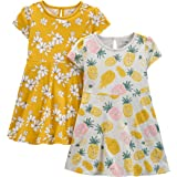 Simple Joys by Carter's Baby Girl's 2-Pack Short-Sleeve and Sleeveless Dress Sets, Pack of 2