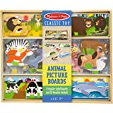 Melissa & Doug Wooden Animal Picture Puzzle Boards with Chunky Wooden Animal Play Pieces (24 Pieces)
