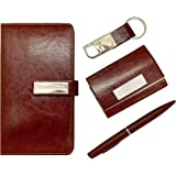 CrownLit 4 in 1 Leather Gift Set with Pen, Planner Diary, Card Holder and Metal Keychain