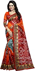 Sarees For Women Party Wear Half Sarees Offer Designer Art Silk New Collection 2018 In Latest With Designer Blouse Beautiful For Women Party Wear Sadi Offer Sarees Collection and Bhagalpuri Free Size Georgette Sari Marriage Wear Replica Sarees Wedding Casual Design With Blouse Material CRAZY_FASHION_SURAT Sarees Women's Black Color Cotton Saree With Blouse