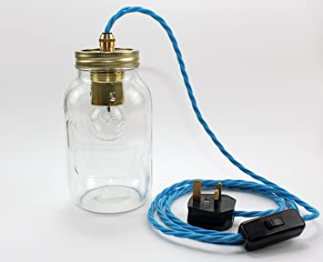 kilner jam jar table light with in line switch and lamp blue