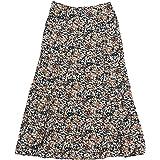Allegra K Faldas a Media Pierna con Estampado Floral y Cintura elástica Alta para Mujer