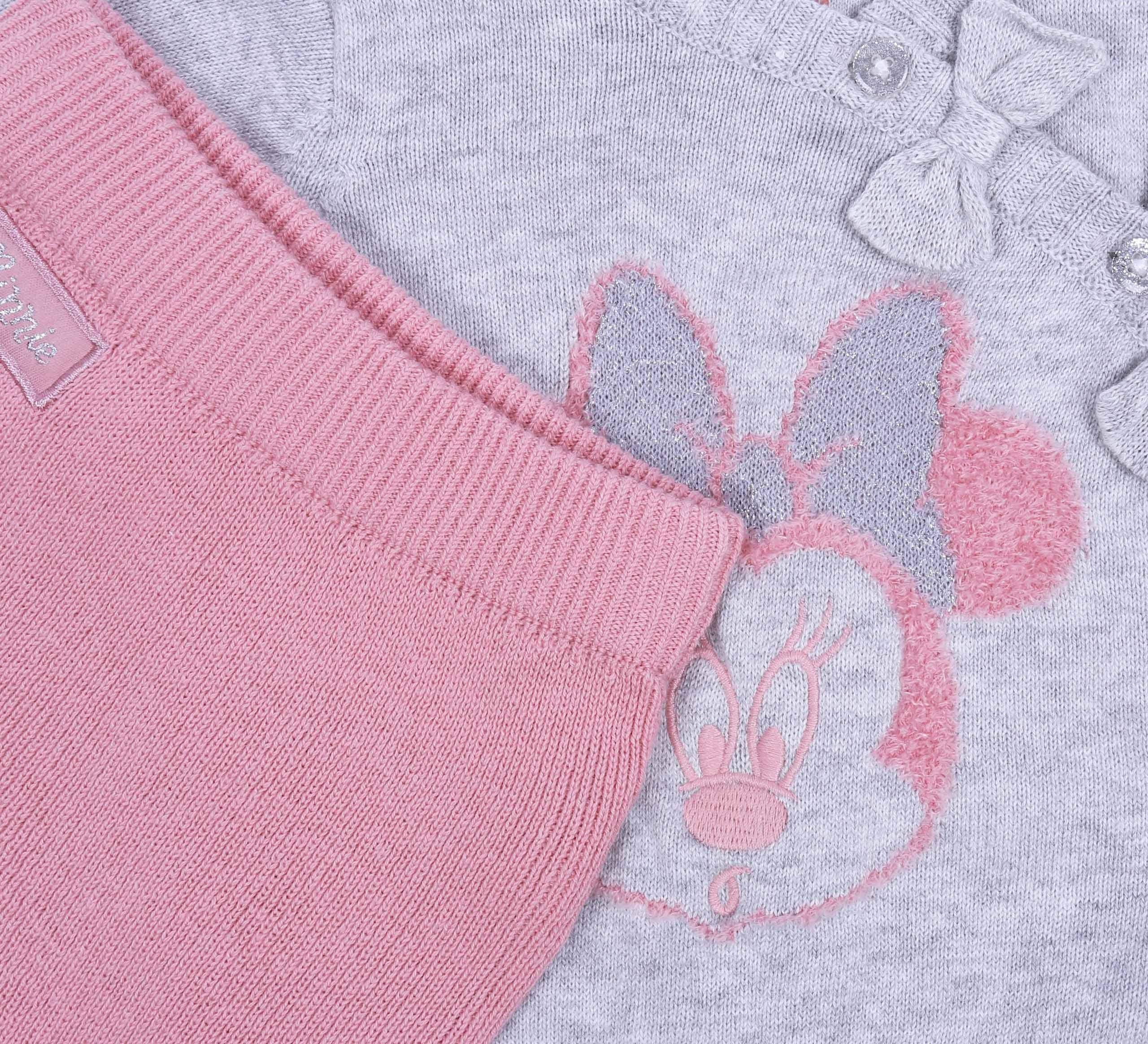 Suéter de bebé + Polainas, Color Gris-Rosa Minnie Disney 4