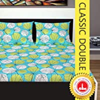 Divine Casa Classic 144 TC Cotton Double Bedsheet with 2 Pillow Covers - Yellow