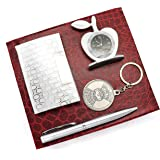 Crownlit 4 in 1 Gift Set with Table Clock, Metal Keychain, Card Holder and Crystal Pen Set (Silver)