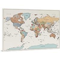 Planisfero da Parete - Dettagliato Cartina Geografica Del Mondo con Puntine - Stampa su Tela - Diario di Viaggio - 3…