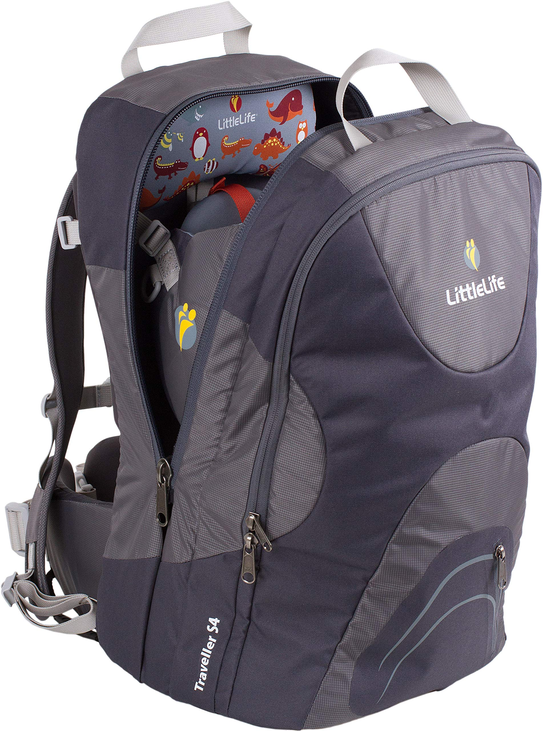 LittleLife Traveller S4 Child Carrier LittleLife Top grab handles and soft face pad & Hypalon toy loop Adjustable, anatomically shaped child seating area with x-buckle harness Padded back and shoulder sections 1