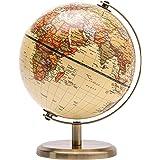 EXERZ 14 cm antik glob – engelska kort – metallbas bronserad färg – pedagogisk/geografisk/modern skrivbordsdekoration – för s