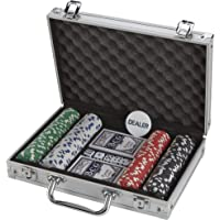 Kids Mandi Complete Poker Playing Game Sets with 200 Casino Style Chips, Cards, Dice, Aluminum Case & Keys for Texas…
