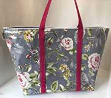 Overnight bag, beach bag,Flight Bag,Holiday Bag,grey flowered Oilcloth