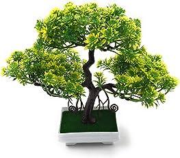 Bonsai Artificial Dwarf Tree ~ Artificial Plants with Pot and Grass Ideal for Home Décor. with Realistic Detailing Size 25cm x 23cm (Pot - 11cm x Breath 7cm)