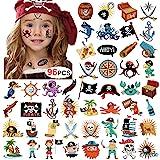 Howaf 96 x Piraten Tattoo Set Kindertattoos Piraten temporäre Tattoo Aufkleber for Kinder Party Mitgebsel Kindergeburtstag geschenktüten Kinder Spielen Piraten Party zubehör