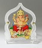 Eknoor Car Dashboard Idol- Goldplated- Ganesh ji with japa mala (Prayer Beads)